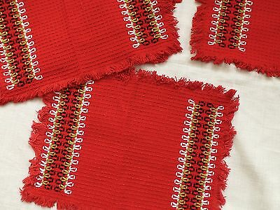 Set 6 vintage embroidered waffle weave cotton table place mats rustic folk style