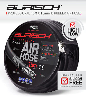 Air hose Airline 15m rubber - 10mm ID - Quick release Hi-flow Fittings - Burisch