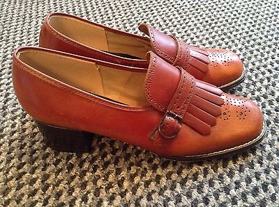 60's VINTAGE BROWN LEATHER SHOES SIZE 4.5