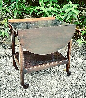 Antique Victorian tea trolley / small table on casters