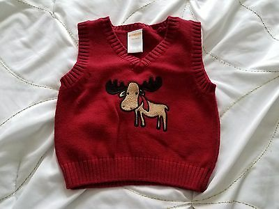 GYMBOREE Boy's 3-6 Months Dark Red Sleeveless Cotton Acrylic Reindeer Sweater
