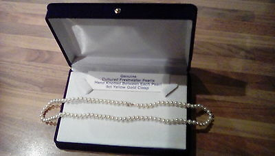 genuine freshwater pearl necklace 9ct yellow gold clasp rrp £74.99
