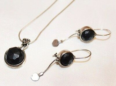 Vintage Onyx Faceted Sterling Silver Necklace Earring Set SU