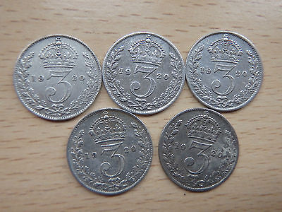 5 x 1920's SILVER THREE PENCE COINS - COLLECTORS