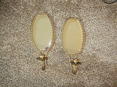 Home interior gold twisted rope mirror sconce