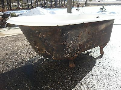 Antique, 5' Cast Iron Claw Foot Bathtub, Porcelain needs restoration, Flower Pot
