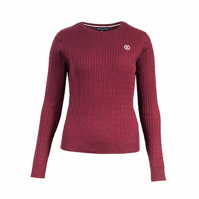 Horze Reanna Women's Cable Knit Sweater Burgundy Size 10 New With Tags