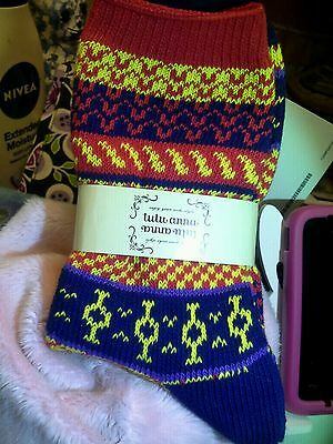 WOMENS   SUPERSOFT COTTON BLEND VERY WARM SOCKS     MULTI-COLOR/ RED       NEW c