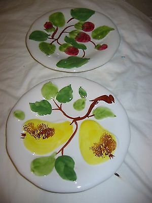 china fruit plates x 2.  wall plates.  8 inch fruit plate