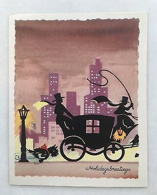 Unused Vintage Christmas Card People Stagecoach City Skyline Lantern Scottie Dog