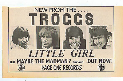 THE TROGGS - LITTLE GIRL AD  press clipping 1968 30X20cm (17/2/1968)