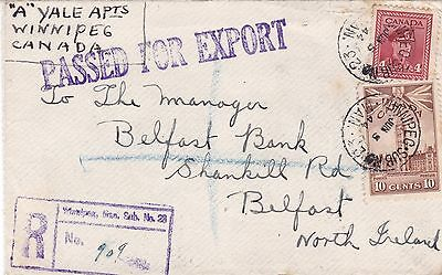 Canada 1944 Passed For Export Censored Reg Cvr Winnipeg to Belfast Northern Irel