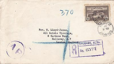 Canada 1947 Registered AR Cover Calgary to London UK 14c Rate