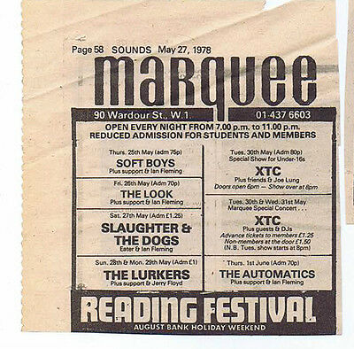 XTC / SOFT BOYS / LURKERS - MARQUEE press clipping 1978  (27/5/78) 10X10cm