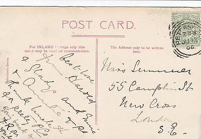 GB Petersfield Hampshire 1906 Squared Circle Postcard to New Cross London