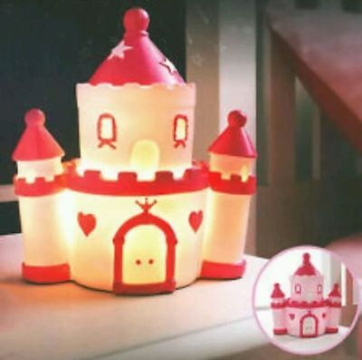 New Princess Castle Pink Night Light Table Lamp LED Girls Bedroom