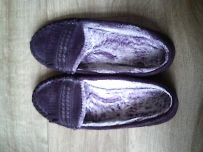 purple leather M&S ladies slippers size 8