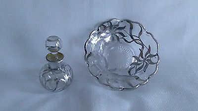 Antique & Vintage Sterling Silver Overlay Glass Perfume Bottle and Bowl