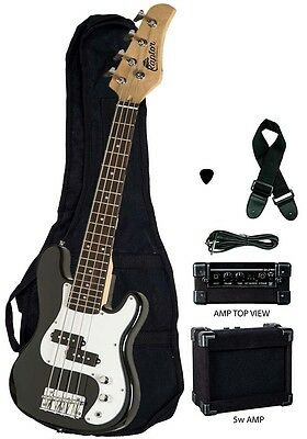 "New Raptor 38"" Kid's 3/4 Size Junior Kid's 4 String Electric P Bass Pack - BLACK"