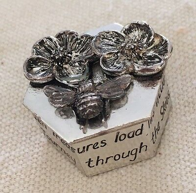 Silver Scenes Hexagonal Silver Plated Bee & Flowers with Verse Small Trinket Pot