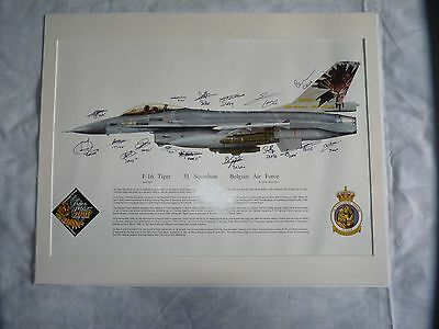 Signed F16 Print by 31 Sqn Belgian Air Force