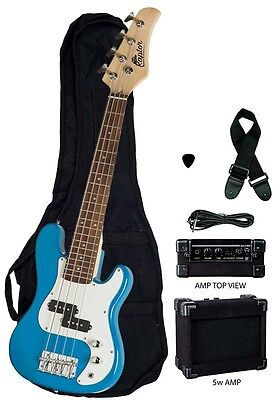 "New Raptor 38"" Kid's 3/4 Size Junior Kid's 4 String Electric P Bass Pack - BLUE"