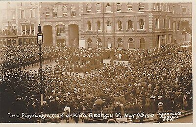 RP Postcard by Jarrold. Royalty. Proclamation of King George V.  1910.