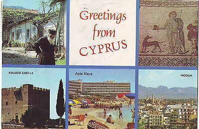 Old Postcard - Greetings from Cyprus (Various Views) - Posted