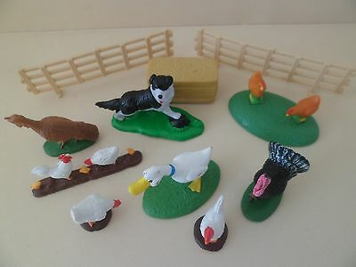 Assorted plastic Farm animals on stands.