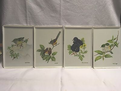 Set Of 4 Porcelain Tiles/plates With Birds Hand Painted By K Nevill 1985 Lovely