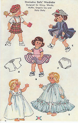"1898 Vintage Mini-Doll Pattern - Size 7-8"" - Korean War Year 1954"