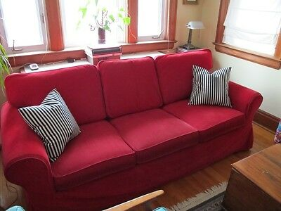 IKEA Red Cover For IKEA EKTORP Sofa 3 Seater Sofa Leaby Red Slipcover