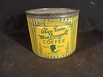 VINTAGE  1 LB  ALICE FOOTE MacDOUGALL COFFEE TIN CAN. KEY WIND  NEW YORK CITY