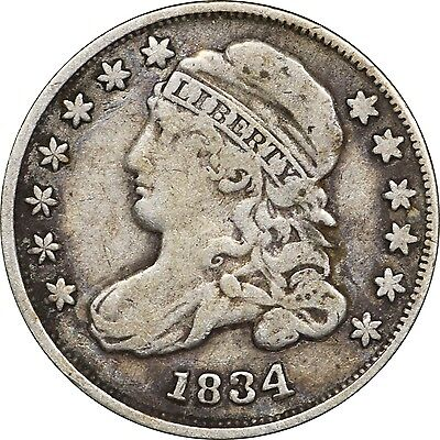1834 Capped Bust Dime 10c, Fine F