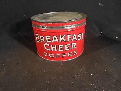 Vintage 1 Lb  Breakfast Cheer Coffee Tin Can. Key Wind  Campbell And Woods Co.#1