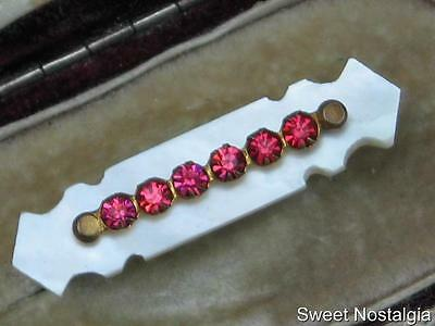 Beautiful Rare Art Nouveau Carved Mother Of Pearl & Pink Diamante Bar Brooch