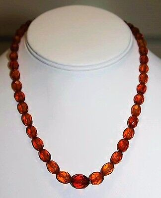 Antique Art Deco Cherry Amber Bakelite Faceted Astounding Choker Necklace NP2