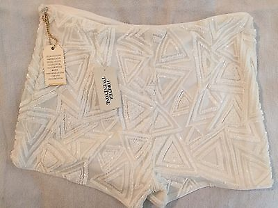 Forever 21 White Sequinned Shorts Size M *New With Tags