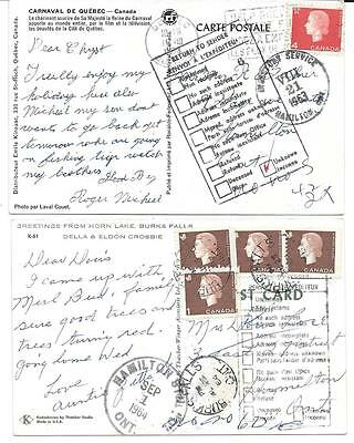 2x 1960's Hamilton, Ont. Incoming Return to Sender/Directory Service QE Cameo's