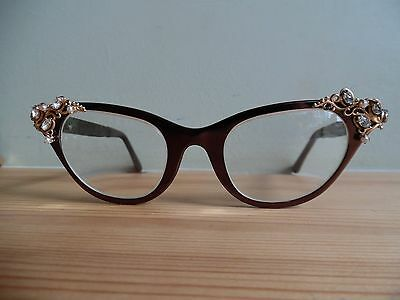 "Vintage Ladies Bronze Metal Embellished ""Tura"" Cat Eye Glasses Perfect Wedding"