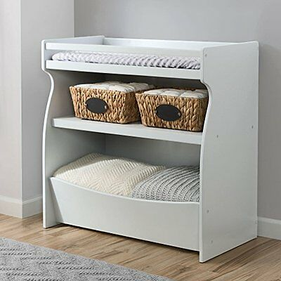 2-in-1 Baby Changing Table and Storage Unit in White - Nursery Furniture
