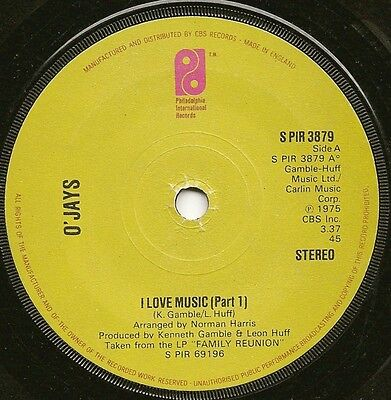 "O'jays ""i Love Music"" Philly Int Single (Cbs) S Pir 3879 (1975)"