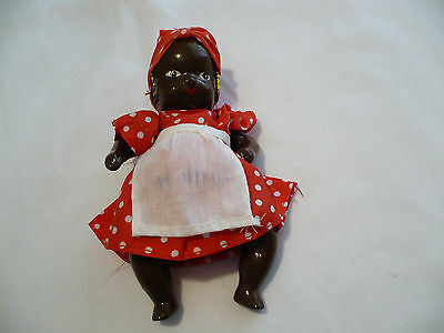 Small Vintage Black Baby Doll-Composition Material-Dress, Apron & Earrings-Cute!