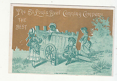 St Louis Beef Canning Company Cart Black Americana Salesman Vict Card c1880s