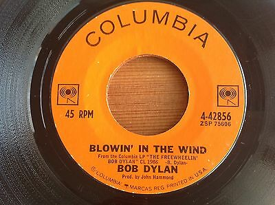 BOB DYLAN BLOWIN' IN THE WIND/DON'T THINK TWICE.STOCK COPY 2nd U.S. 45 VG+ RARE