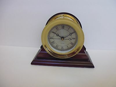 "4.5 ""Chelsea marine clock quartz movement on Mahogany base in working condition"