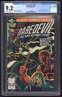 Daredevil (1964) #168 CGC 9.2 OW/W Pages 1st App of Elektra Frank Miller Blue