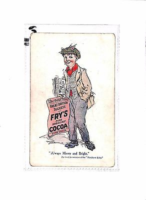 P613 GB Advert Postcard FRY'S COCOA 'Always Merry and Bright' Partridge & Love