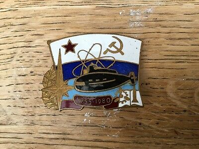 Vintage Russian Soviet navy  enamel submarine badge