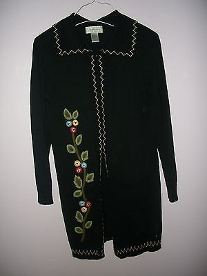 Vintage 1980's Hand Embroidered Cardigan  Sweater